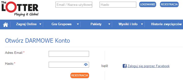 Rejestracja w TheLotter.com